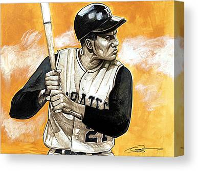 Roberto Clemente Drawings Canvas Prints