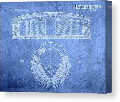 New York Mets Stadium Mixed Media Canvas Prints