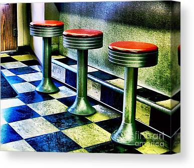 Old Diner Seating Canvas Prints