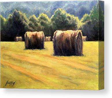 Hay Bales In Franklin Tennessee Canvas Prints