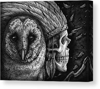 Bird Skull Drawings Canvas Prints
