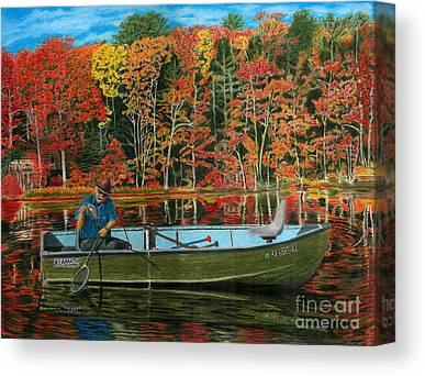 Autumn Leaf On Water Drawings Canvas Prints