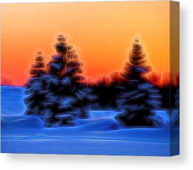 Trees In Snow Mixed Media Canvas Prints