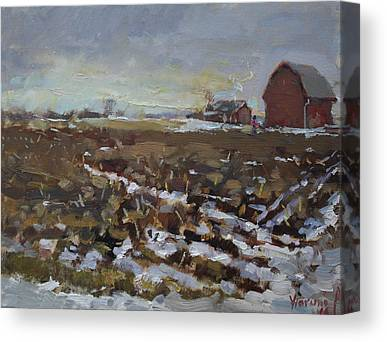 Winter Snow Red Barn Farm Paintings Canvas Prints