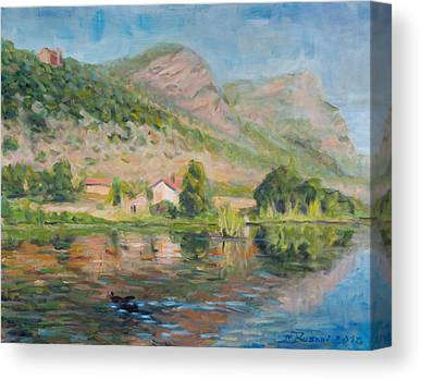 Water Reflection Landscape Italy Pond Dunk Impression Sun Sunny Canvas Prints