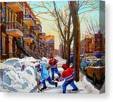 Hockey Scenes Of Verdun Canvas Prints