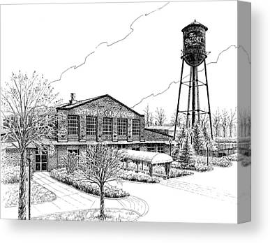 Pen And Ink Drawing Of Franklin Tennessee Canvas Prints