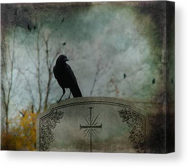 Crows On Tombstones Canvas Prints