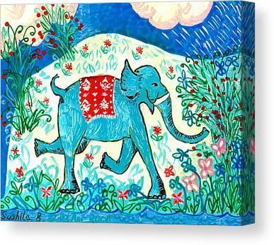 Galloping Elephant Canvas Prints
