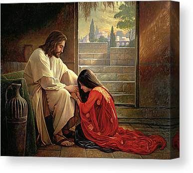 At Jesus Feet Canvas Prints
