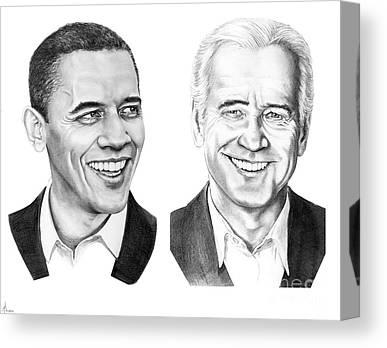 Obama Drawings Drawings Canvas Prints