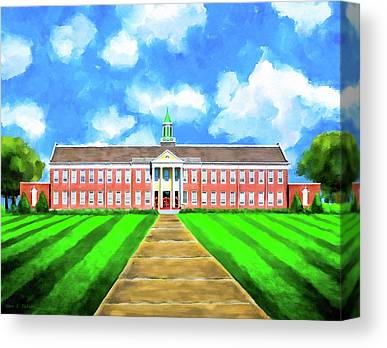 Red School House Mixed Media Canvas Prints