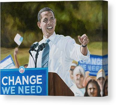 Obama Portrait. Obama Rally Canvas Prints
