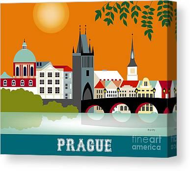 Vltava River Digital Art Canvas Prints
