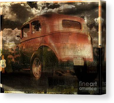 Rusted Cars Paintings Canvas Prints