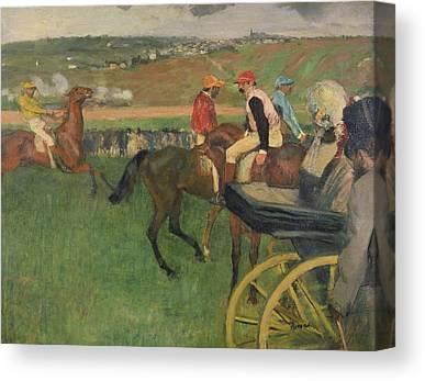 The Race Course - Amateur Jockeys Near A Carriage Canvas Prints