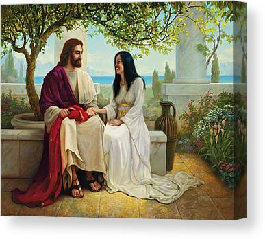 Jesus With A Woman Canvas Prints