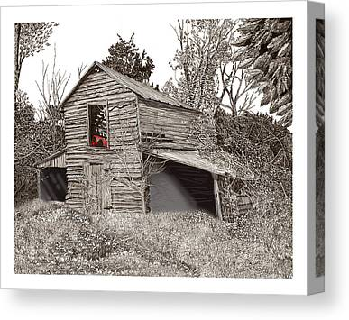 Pen And Ink Of Barn Drawings Canvas Prints
