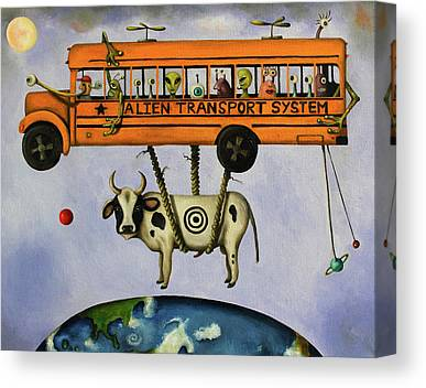 School Bus Paintings Canvas Prints