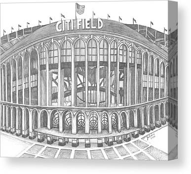 New York Mets Stadium Drawings Canvas Prints