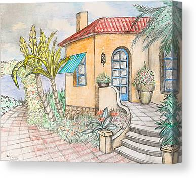 Villa By The Sea Drawings Canvas Prints