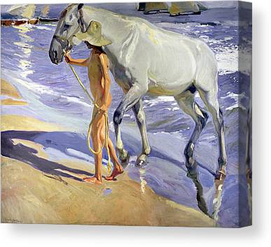 1909 Oil On Beach Nude Boy Male Young Child Seaside Summer Sunshine Canvas Prints