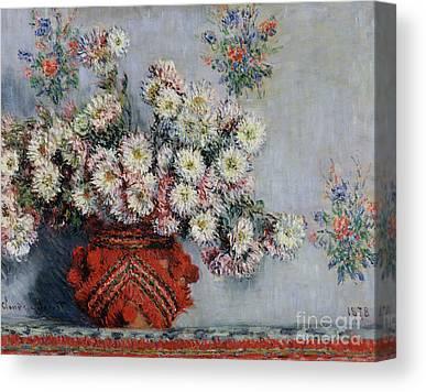 1878 Oil On Still Life Flowers Impressionist Vase Chrysanthemes Canvas Prints