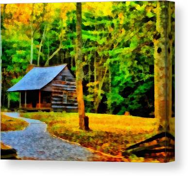 Old Cabins Mixed Media Canvas Prints