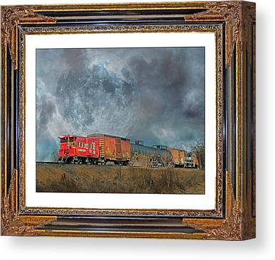 Old Caboose Mixed Media Canvas Prints