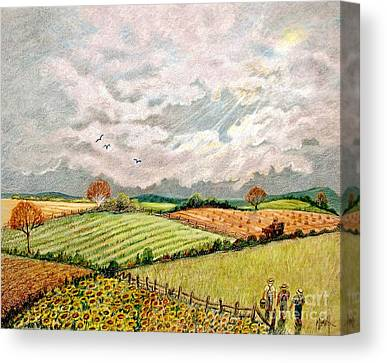 Amish Farms Drawings Canvas Prints