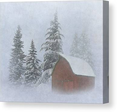 Red Barn In Winter Canvas Prints