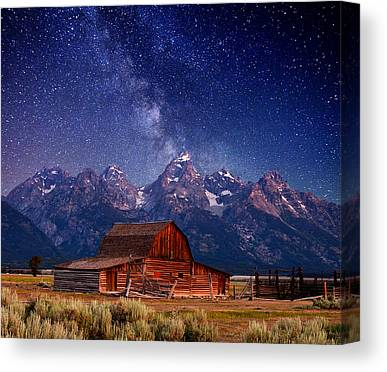 White Barn Canvas Prints