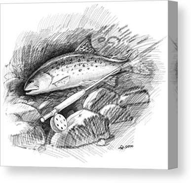Wet Fly Drawings Canvas Prints