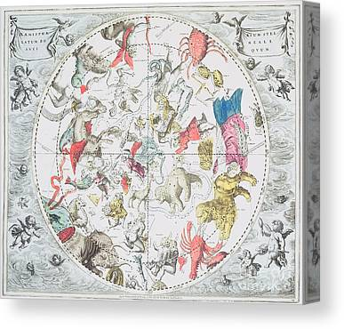 Celestial Planisphere Showing The Signs Of The Zodiac Canvas Prints