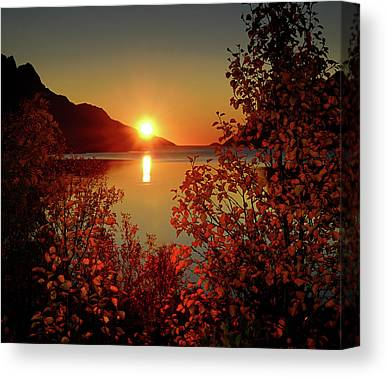 Sunset In Norway Canvas Prints