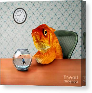 Goldfish Mixed Media Canvas Prints
