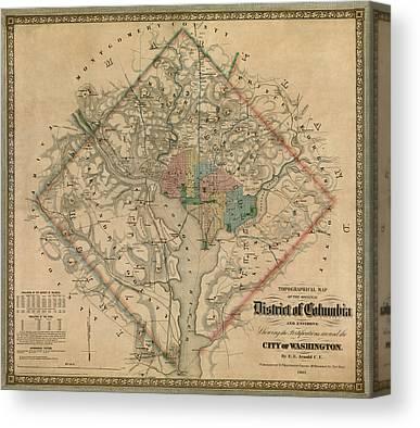 Vintage Map Canvas Prints