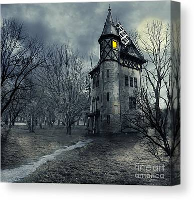 Haunted House Digital Art Canvas Prints