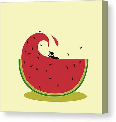 Watermelon Digital Art Canvas Prints
