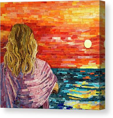 Mosaic Glass Portraits Mixed Media Canvas Prints