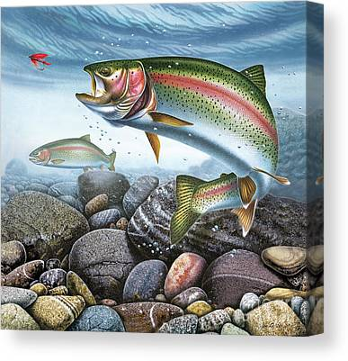 Wet Fly Paintings Canvas Prints