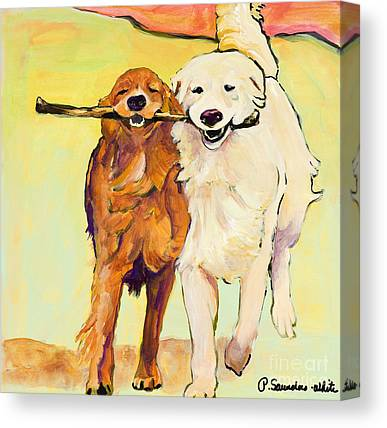 Dog Running Canvas Prints