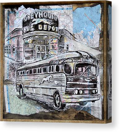 Old Bus Stations Drawings Canvas Prints