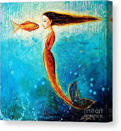 Fish Underwater Paintings Canvas Prints