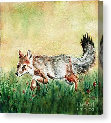 Fox Kit Paintings Canvas Prints