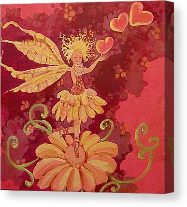 Fairy Hearts Pink Flower Drawings Canvas Prints
