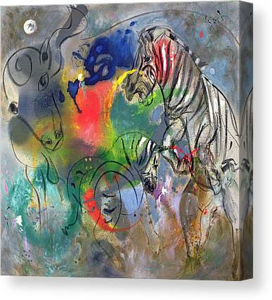 Zebra Abstract Paintings Canvas Prints