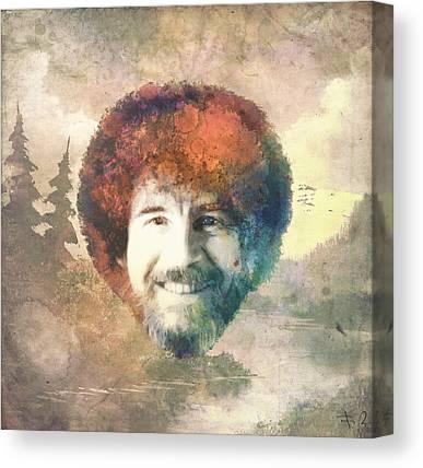 Bob Ross Digital Art Canvas Prints