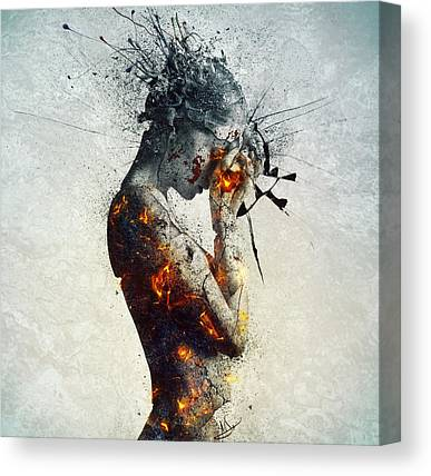 Burning Statue Canvas Prints