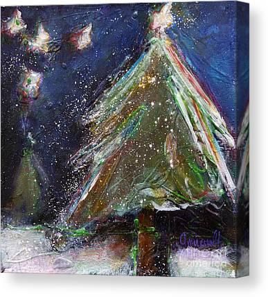 Snowy Night Mixed Media Canvas Prints